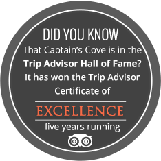 Did you known that Captain's Cove is in the Trip Advisor Hall of Fame? It has won the Trip Advisor Certificate of EXCELLENCE five years running