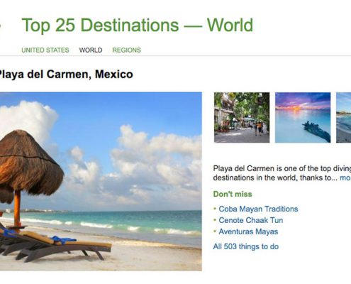 Playa del Carmen in Trip Advisor's Top 25 World's Best Destinations 2016