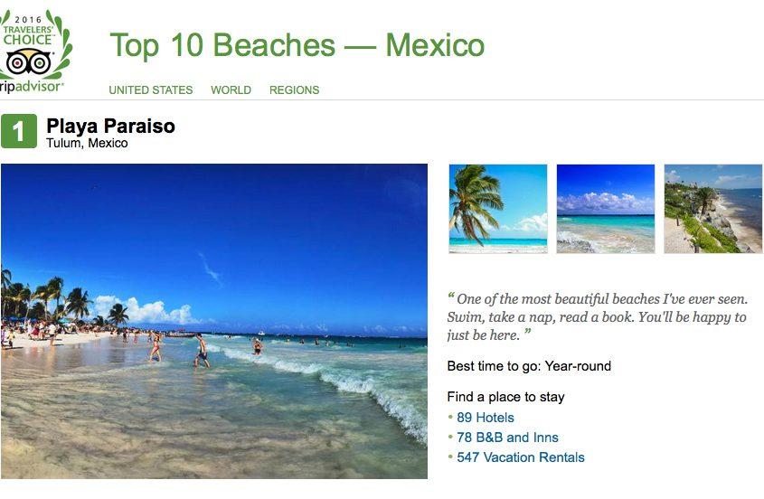 No. 1 Playa Paraíso, Tulum (also No. 21 in the World's Top 25 Beaches)
