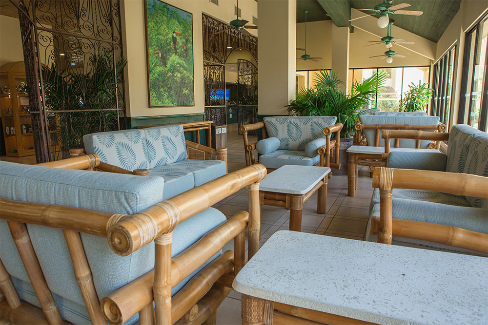 The Furniture In The Lobby At The Royal Islander Has Also Been  Reupholstered In A Palate Of Restful Blues.